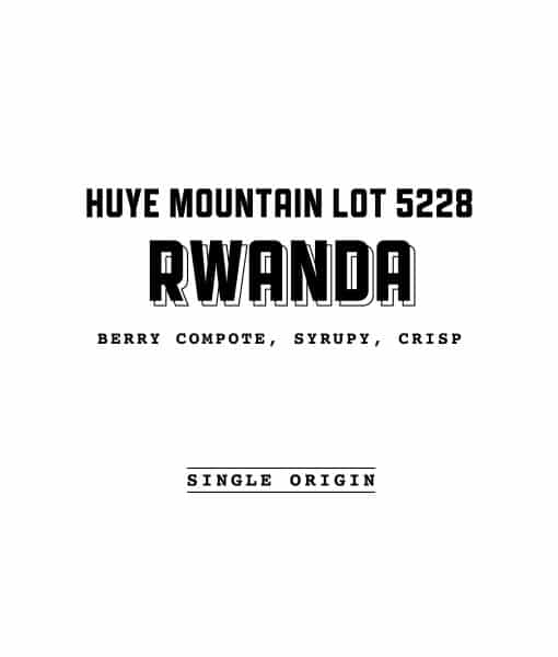 Rwanda Huye Mountain Lot 5228